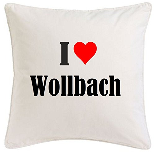 Kissenbezug I Love Wollbach 40cmx40cm aus Mikrofaser geschmackvolle Dekoration für jedes Wohnzimmer oder Schlafzimmer in Weiß mit Reißverschluss