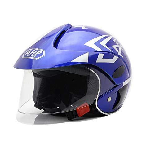 Casco de motocross para niños, casco de motocicleta para niños, niños y niñas, bicicleta, scooter, deportes al aire libre, visor de sol, regalo, por 3-10 años, 48 ~ 52 cm, brillante web,Azul