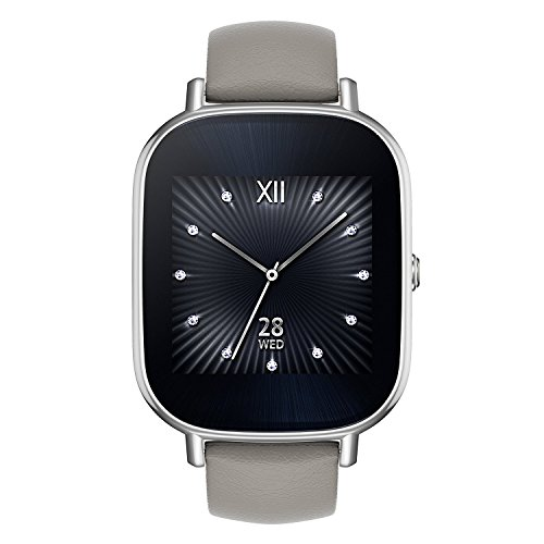"""ASUS ZenWatch 2 Smartwatch 1.45"""" Stainless Steel - Silver/Khaki Leather Band (Certified Refurbished)"""