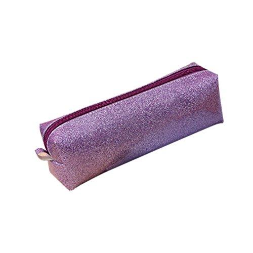 Fablcrew Mode Maquillage Pouch Trousse de rangement pour pièces de monnaie Sac à main pour bureau école Violet