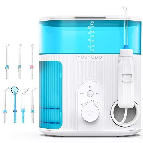 Irrigador Dental Profesional con UV Esterilización,YOUNGDO Irrigador Bucal con 7 Boquillas de Capacidad 800ML, Limpieza Dientes 10 Ajustes de Presión Del Agua,Limpiador Bucal IPX7 Impermeable