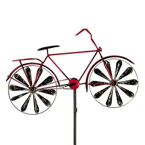 CIM Metall Windrad - Bicycle Red - Wetterfest, mit Antik-Effekt - Windräder: Ø18cm, Motiv: 51x32cm, Gesamthöhe: 160cm - inkl. Standstab