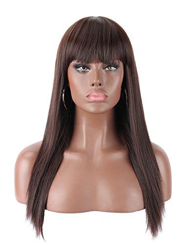 """Kalyss 22"""" schwarz Kirsche lange glatte gerade Haar für Frauen hitzebestädige Yaki synthetische Haar weibliche Perücke mit Pony"""