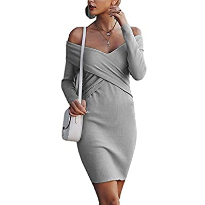 Womens Sexy Off Shoulder Long Sleeve Mini Pencil Bodycon Knitted Sweater Dress