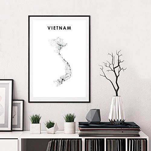 Vietnam kaart zwart wit canvas poster prints Vi Namt Nam Ho Chi Minh Hanoi kaart Wall Art schilderij muur foto Office Home Decor 50x70cm frameloze