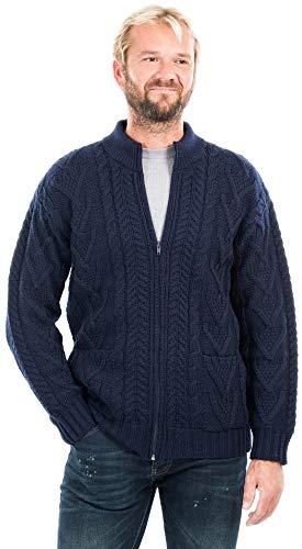 Cárdigan de lana merino para hombre, 100% con cierre, tela de punto con bolsillos en color carbón/verde militar, Marino, XX-Large