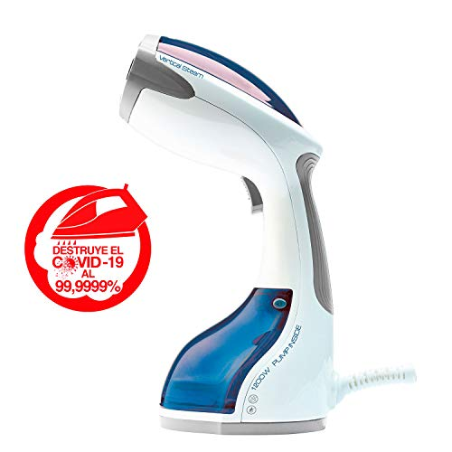 Solac PC1501 PC1501-Plancha Vertical 1200 W, Elimina el 99,9999% de Virus y bacterias, 2 Accesorios, 2200 CC, rápida Puesta en Marcha, Auto-Off, antigoteo, cómodo Agarre, Cable 2 m, Plástico, Azul