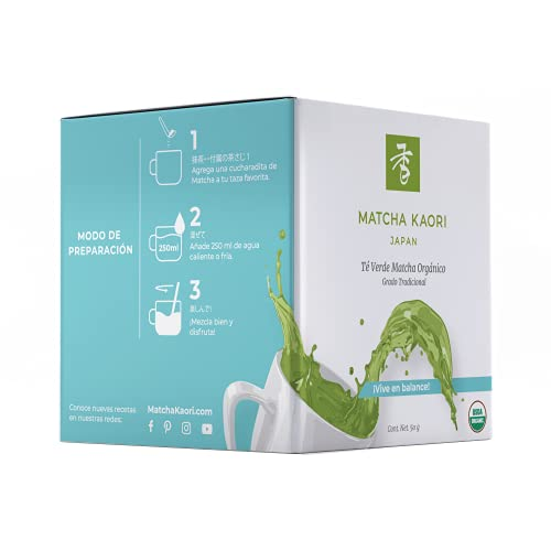 Matcha Kaori Té Verde Matcha Organico Orgánico, Fresco y herbal, 50 gramos