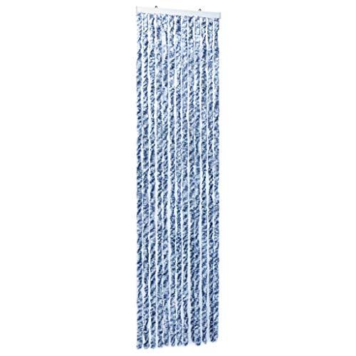 vidaXL Cortina Mosquitera Chenilla Azul Blanco Plata 56x185 cm Malla Anti Insectos Mosquitos Moscas Bichos