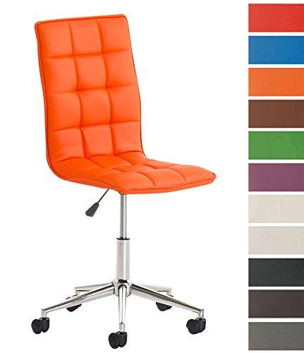 CLP Taburete De Trabajo Peking Tapizado En Cuero PU I Silla De Oficina Sin Reposabrazos I Taburete con Ruedas & Regulable En Altura I Color: Naranja