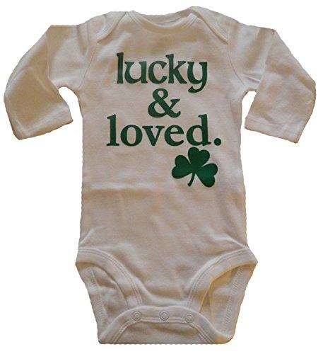 Custom Kingdom Baby Boys/Girls Lucky and Loved Irish Shamrock Long-Sleeved One-Piece Romper Bodysuit White (6 Months)