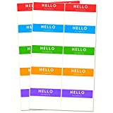 (Hello My Name Is) Namensschilder Aufkleber Etiketten - 7,5 x 5 cm, 5 Farben, 250 Stück