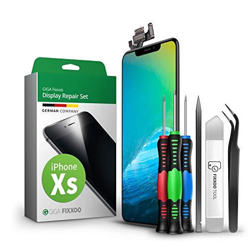 GIGA Fixxoo Kit di Ricambio per Schermo di iPhone XS, Completo con LCD Nero, Touch Screen Display Retina in Vetro, Fotocamera e Sensore di Prossimità - Guida Illustrata per Riparazione Facile