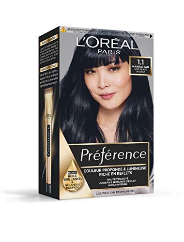 L'Oréal Paris Préférence Coloration Permanente Cheveux, Nuance : Manhattan (1.1), Noir Glacé Intense
