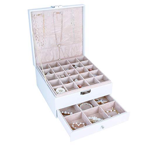 AUTOARK AW-088 - Organizador de caja de joyería, 3 capas con 1 cajón, organizador de escritorio para pendientes, pulseras, anillos, relojes y accesorios, hebilla de metal, gran capacidad, cuero blanco