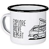 Tasse en émail avec Camping-Car Motif - pour Camping, Vanlife - Eat Sleep Camp - 300ml - MUGSY.de