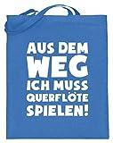 shirt-o-magic Querflötenspieler: Muss Querflöte spielen! - Jutebeutel (mit langen Henkeln) -38cm-42cm-Blau