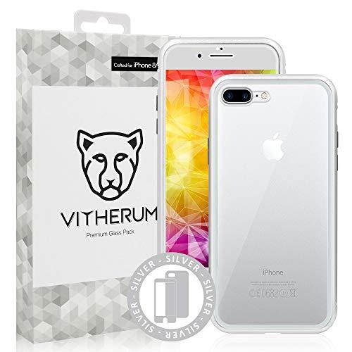 Preisvergleich Produktbild Vitherum Silver Premium Glas-Packung (Vorderseite gebogenes Hartglas + magnetische Glashülle) kompatibel mit iPhone 8+ / 7+ Silber