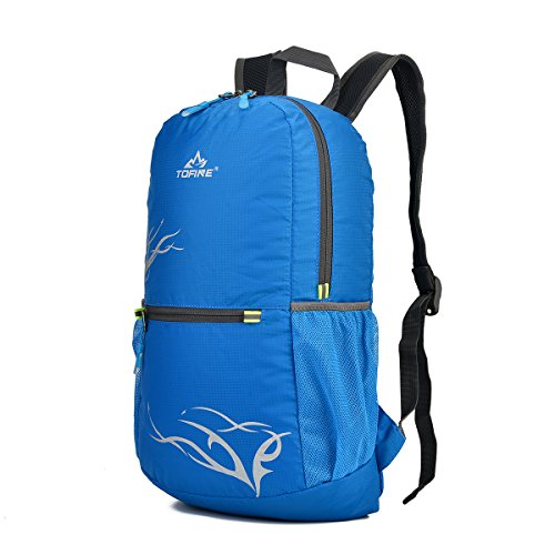 TOFINE Small Ultra Lightweight Boy's Waterproof Packable Daypack Nylon Blue 15L