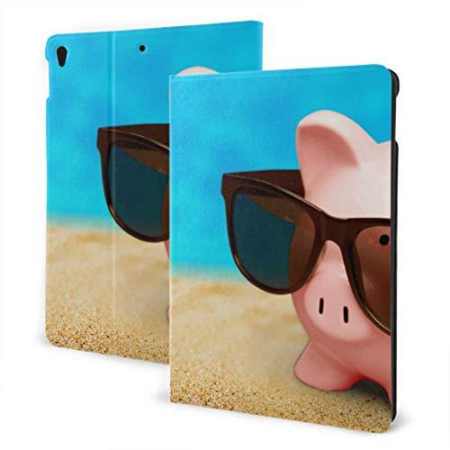iPad Funda para iPad 2019 iPad Air3 / 2017 Funda para iPad Pro de 10,5 Pulgadas / 2019 Funda para iPad 7 ° de 10,2 Pulgadas Lechones con Gafas de Sol en la Playa en Verano Funda Fresca para iPad Aut
