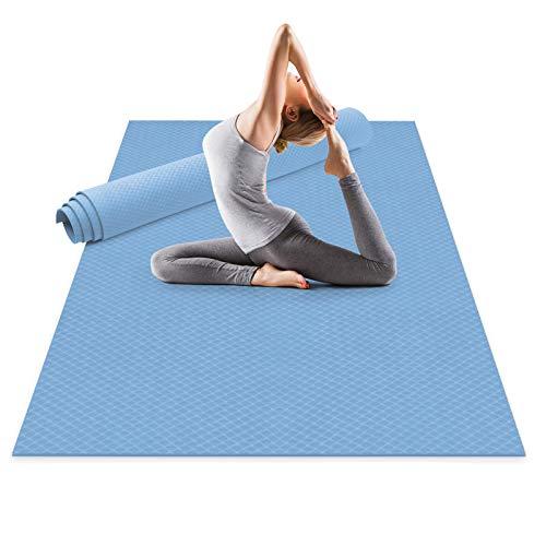 Odoland Esterilla de Yoga Grande 183 x 121 x 0.6 cm, Alfombrilla Deporte 6mm Grueso de Ecológico TPE, Antideslizante, Colchoneta de Pilates, Estiramientos, Gimnasia en Casa o en Gimnasio, Azul Agua