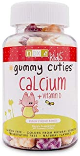 Gummy Cuties Kid's Formula Daily Calcium & Vitamin D Gummies for Strong Healthy Bones & Teeth - Gluten Free, Non-GMO, Natu...