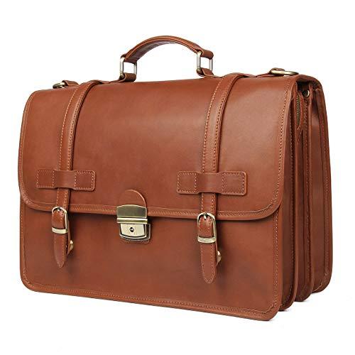 DONZ Homme Femme Sac à Bandoulière en Cuir pour élégant Décontracté Messenger Bag Sac à Main d'affaires 14 Pouces Sac à Dos pour Ordinateur Portable,BrownishRed