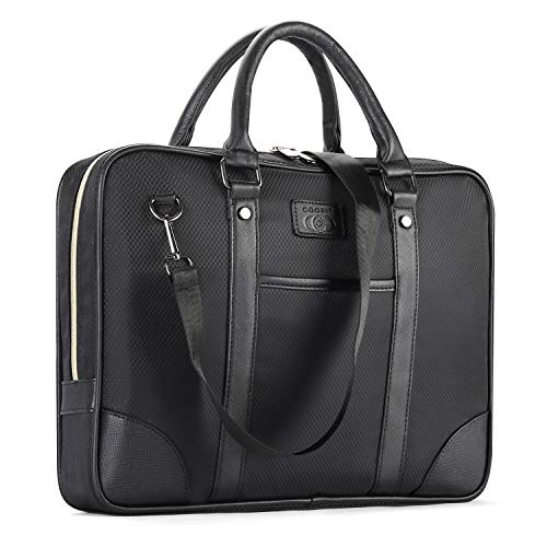 COOFIT Oxford Fabric 13-Inch Laptop and Tablet Briefcase Messenger Bag with Leather Handle