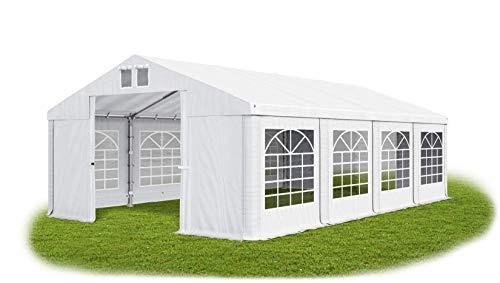 Das Company Partyzelt 4x8m wasserdicht weiß Zelt 560g/m² PVC Plane Hochwertigeszelt Gartenzelt Summer SD