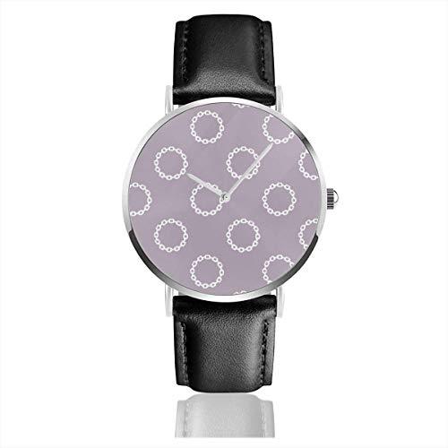 Armbanduhr Quarzuhr Kettenblätter Gelegenheitsuhren mit schwarzer Lederuhr
