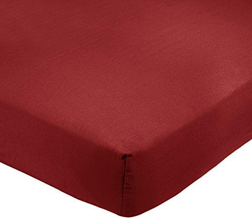 AmazonBasics - Sábana bajera ajustable (polialgodón 200 hilos) Burdeos - 150 x 200 x 30 cm