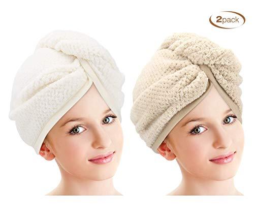 DY_Jin verpakking met 2 handdoeken van microvezel voor het haar, badhanddoek met droogknoppen, magische sneldroger, muts voor droog haar, badmuts