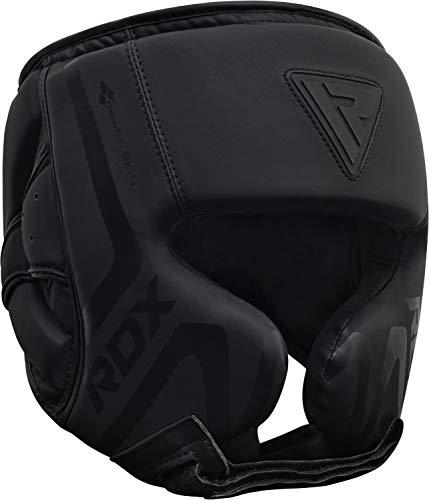 RDX Casco Protector Boxeo Entrenamiento MMA Fighting Headgear | Protector de Cara y Orejas de Muay Thai de Piel de Piel de convección Negro Mate | Ideal para Artes Marciales ⭐