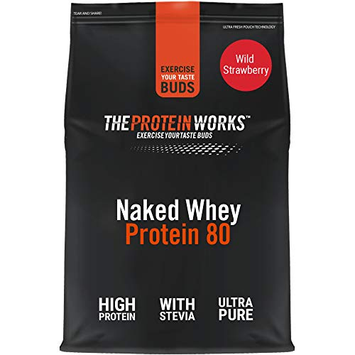 THE PROTEIN WORKS Naked Whey Protein 80 Powder | 100% Natural | With Stevia | Low Fat Shake | Wild Strawberry | 1 Kg