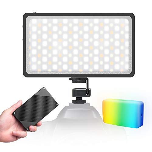 (con Difusor) Moman RGB Antorcha-Led-Foco-Vídeo-Cámara, Panel Led Fotografia DSLR 2500K-8500K CRI 96+, Luz Reflex Portátil Super Compacta 300g con Pantalla OLED