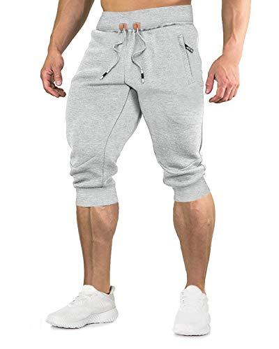 EKLENTSON Herren Männer Trainingsshort Kurze Hose Bermuda mit Zip Pocket und Elastischem Bund, Hellgrau