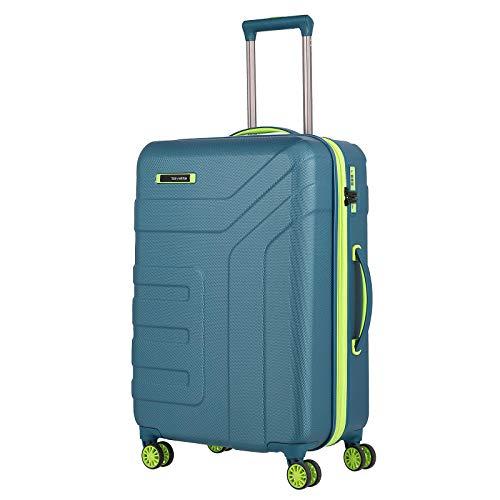 travelite Gepäck Serie VECTOR: Robuster Hartschalen Trolley in stylischen Farben, 4-Rad Koffer Größe M mit Dehnfalte + TSA Schloss, 072048-22, 70 cm, 79 Liter (erweiterbar auf 91 Liter), petrol/limone