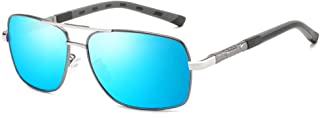 Fashion Travel Beach Mirror Riding Tourism Outdoor Sports Men's Driving Sunglasses Ultra-Light Frame Red Frame Anti-UV Sunglasses Retro (Color : Blue)