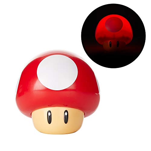 Paladone Super Mario Bros Toad Mushroom Light with Sound, Collectable Light Up Figure Night Light