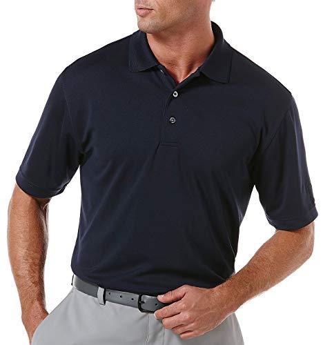 PGA TOUR Men's Airflux Short Sleeve Solid Golf Polo-Shirts, True Navy, S