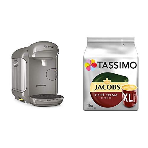 Bosch TAS1406 Tassimo Vivy2 Kapselmaschine, über 70 Getränke, vollautomatisch, geeignet für alle Tassen, kompakte Größe + Tassimo Kapseln Jacobs Caffè Crema + Latte Macchiato + Milka + Probierbox