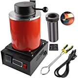 Gold Melting Furnace 3 KG Electric Digital Melting Furnace Machine 1400W 2100F PID Smelter Kiln Kit with 5 in 1Graphite Crucible for Refining Jewelry Precious Metals Gold Silver Copper (Black)