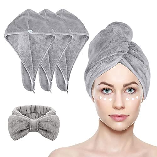 JOLIGAEA 3 Pezzi Cappuccio Capelli Secchi Super Assorbente con Fascia per capelli, Asciugamano per Capelli, Turbante Asciugamano, con Design a Bottoni, Asciugatura Rapida per Capelli Bagnati
