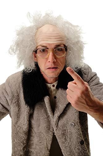 WIG ME UP - 3893-202-8 Perücke Halbglatze Herren Karneval Halloween Alter Opa Verrückter Professor Wissenschaftler Einstein Kauz grau