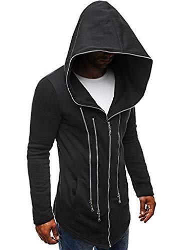 PUJIANGxian Man Diablo Mode Mantel Pullover Multi Reißverschlussdekoration Mit Kapuze Komfortabel (Color : Black, Size : 2XL)
