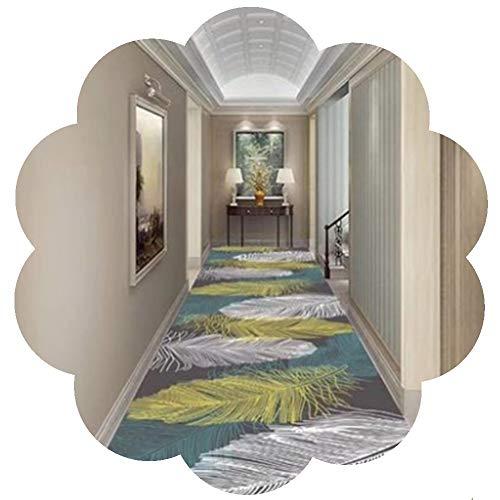 ZWRYW Alfombras De Pasillo Corredor Largas Moquetas Largo Entrada Felpudos Patrón De Plumas Agradable para La Piel Durable Lavable Cortable Personalizable Habitación