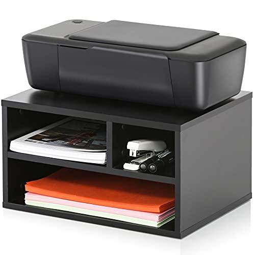 FITUEYES Soporte para Impresora Madera Negro con 3 Compartimentos Organizador de Escritorio para Oficina Casa 40x30x22cm DO304001WB