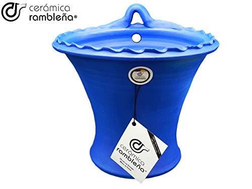 Keramiek RABLEÑA | Wand-bloempot Cordoba Blauw | Grote pot | pot voor buiten | pot om op te hangen | 100% handgemaakt | 25 x 22 x 23 cm