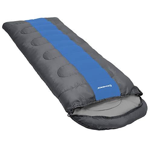 SONGMICS Campingschlafsack mit Kompressionsbeutel, breiter Trekkingschlafsack für alle 4 Jahreszeiten, leicht zu tranportieren, kompakt, für Camping, 220 x 84 cm, Komforttemperatur 5-15°C