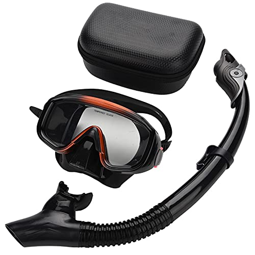 ALLWIN Set de Snorkel para Adultos, Máscara de Snorkel Dry Top Gafas de Buceo Antivaho de Vidrio Templado Equipo de Snorkel Respiración Libre, para Hombres y Mujeres Natación Buceo Buceo